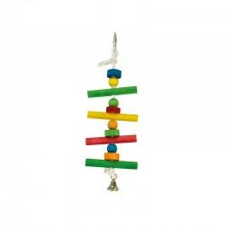 Maderas de colores, bolas y campana- 12 x 38 cm