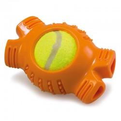 Hueso naranja con pelota de tenis