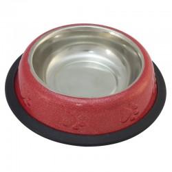 Comedero Inox gato ROJO antidesl.0,24l./16cm