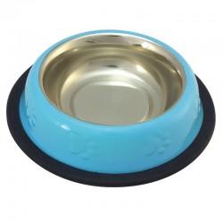 Comedero Inox gatos AZUL antidesl. 0,24l./16cm