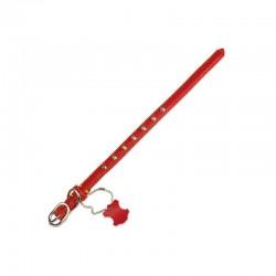 Collar piel basico rojo 1.5 x 30 cm