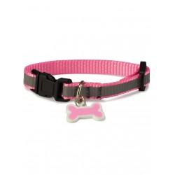 Collar perro reflectante rosa 1x15/22 cm.