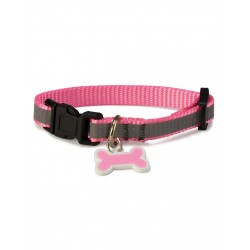 Collar perro reflectante rosa 1,9x35/50 cm.